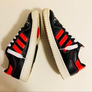 adidas Shoes - Adidas Stars Black Red & White Sneakers Size 9